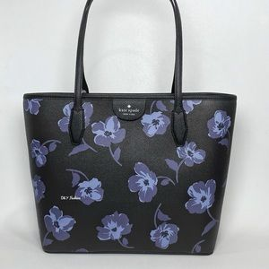 Kate Spage Lori Tote Carryall Bag Tossed Poppies Print